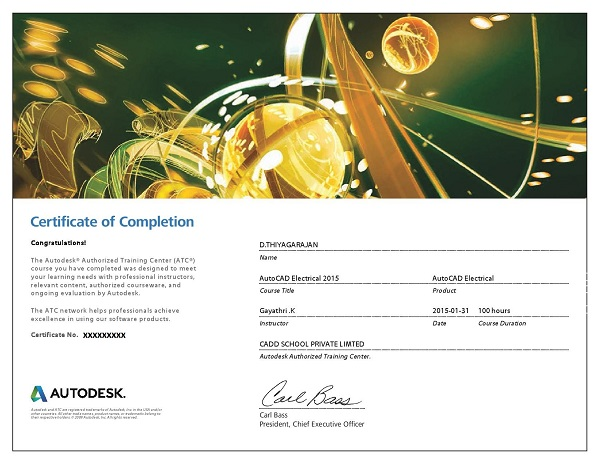 CADD SCHOOL autodesk course Completion Certificate